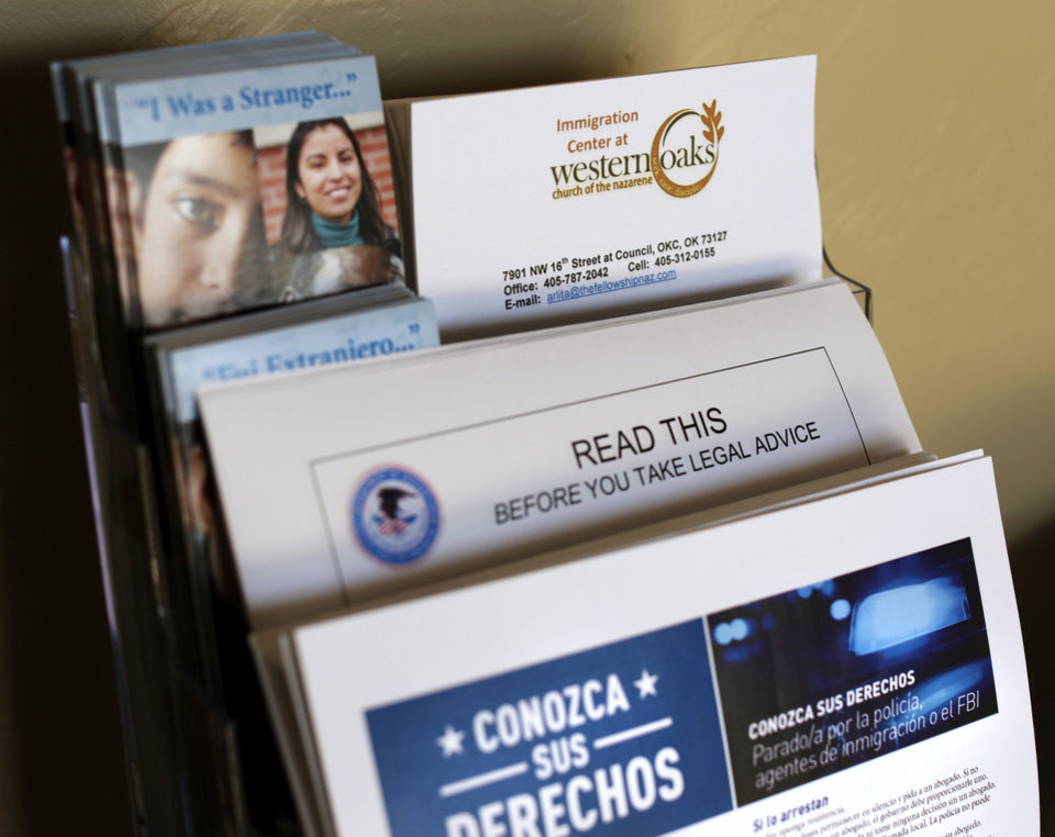 Photo -  Literature and pamphlets related to rules and laws concerning immigrants are placed in the front hallway at Western Oaks Church of the Nazarene which recently launched a new ministry called The Immigration Center. [Photo by Jim Beckel, The Oklahoman]