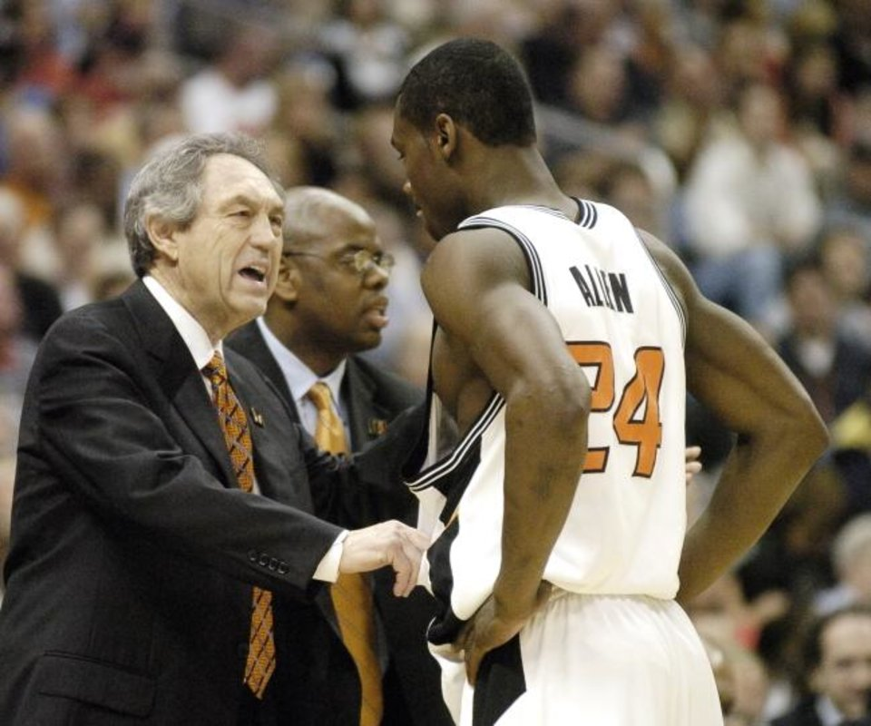 Photo -  Oklahoma State's Tony Allen hears from coach Eddie Sutton about one of his three first-half fouls against Georgia Tech in the 2004 Final Four.  [The Oklahoman Archives]