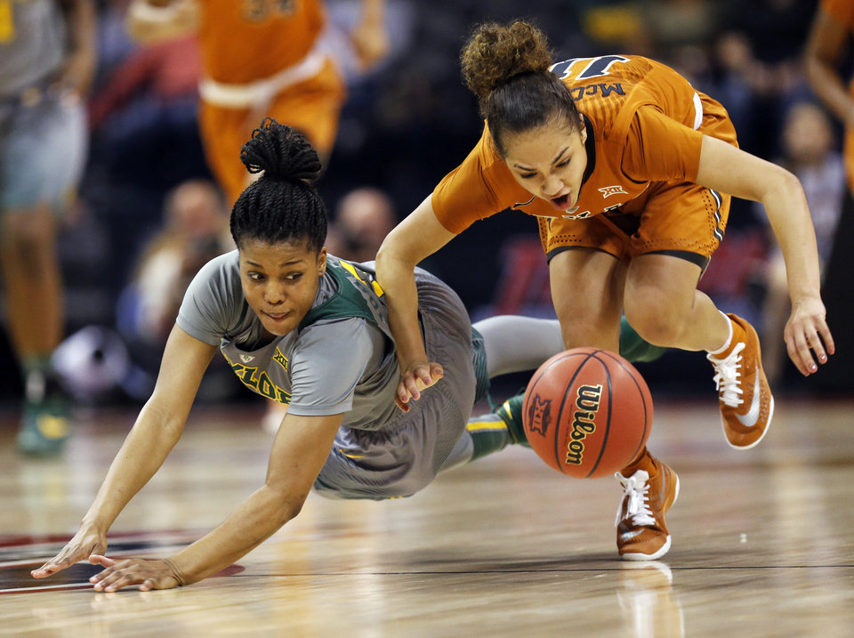 Photo - Baylor's Niya Johnson (2), left, and Texas' Brooke McCarty (11) chase the ball during the Big 12 Women's Basketball Championship final between the Texas Longhorns and the Baylor Lady Bears at Chesapeake Energy Arena in Oklahoma City, Monday, March 7, 2016. Baylor won 79-63. Photo by Nate Billings, The Oklahoman