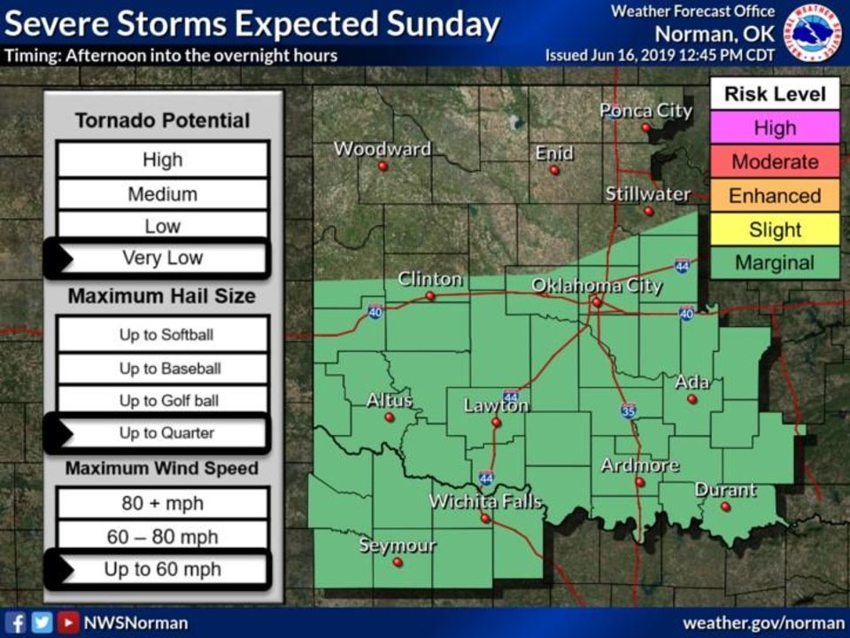 Photo -  There's a chance for severe weather across Oklahoma Sunday and overnight, forecasters say. [National Weather Service image]