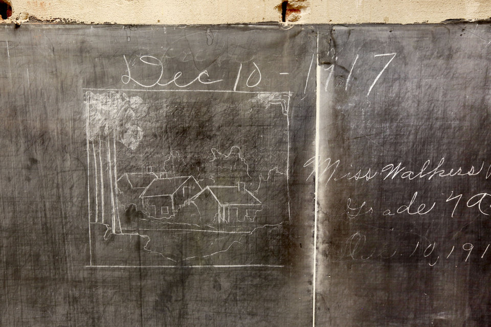 Photo - More historic blackboards covered up in 1917 have been uncovered in the 3rd floor classrooms at Emerson High School in Oklahoma City, OK, Friday, January 8, 2016,  Photo by Paul Hellstern, The Oklahoman