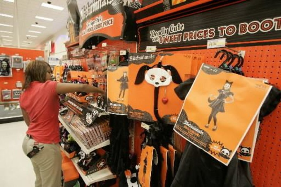 dee bruner stocks halloween merchandise at the target store on north pennsylvania in oklahoma city - Halloween Stores Oklahoma City