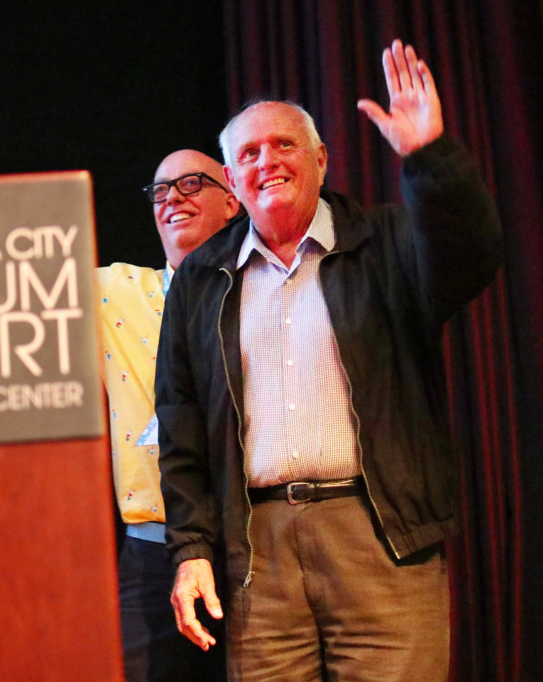 Photo - Past Oklahoma Film Icon winner Gray Frederickson is introduced at opening night for deadCenter at the Oklahoma City Museum of Art, Thursday, June 6, 2019. [Doug Hoke/The Oklahoman]