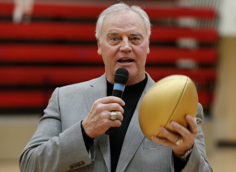 Photo - Purcell graduate Cliff Thrift is honored during an assembly for his contributions to the Super Bowl as part of the NFL's High School Honor Roll on Friday, Jan. 29, 2016 in Purcell, Okla.  Photo by Steve Sisney, The Oklahoman