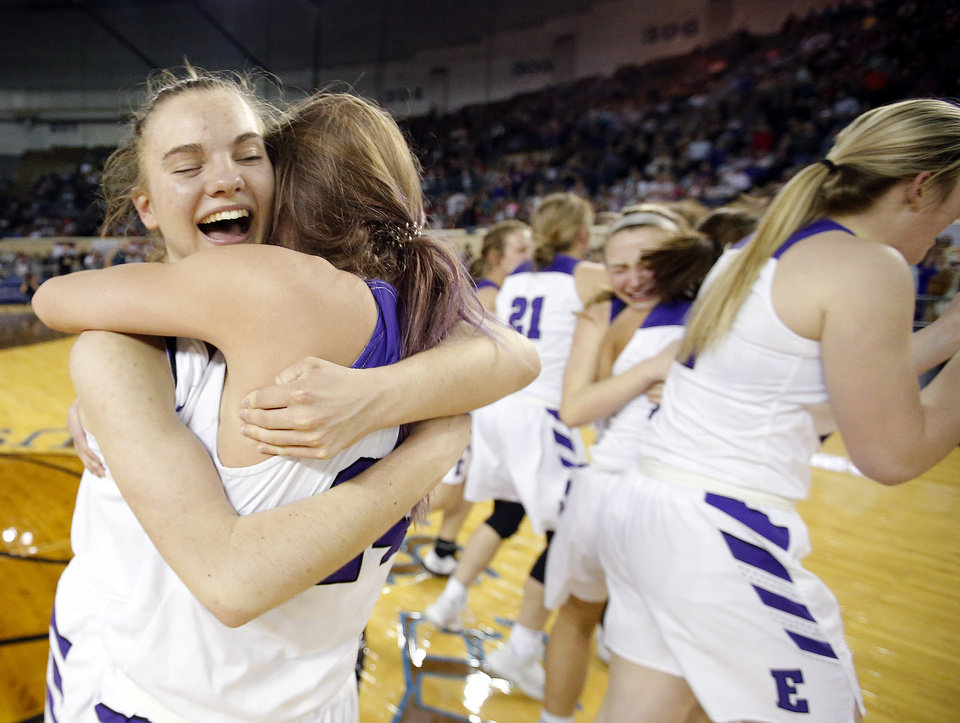 "Photo - Hydro-Eakly's Kira Berkey, left, and Rachel Barry (24) celebrate following the Class A girls basketball tournament championship game between Hydro-Eakly and Canute inside Jim Norick Arena, ""The Big House,"" at the OKC Fairgrounds in Oklahoma City,  Saturday, March 7, 2020. [Sarah Phipps/The Oklahoman]"