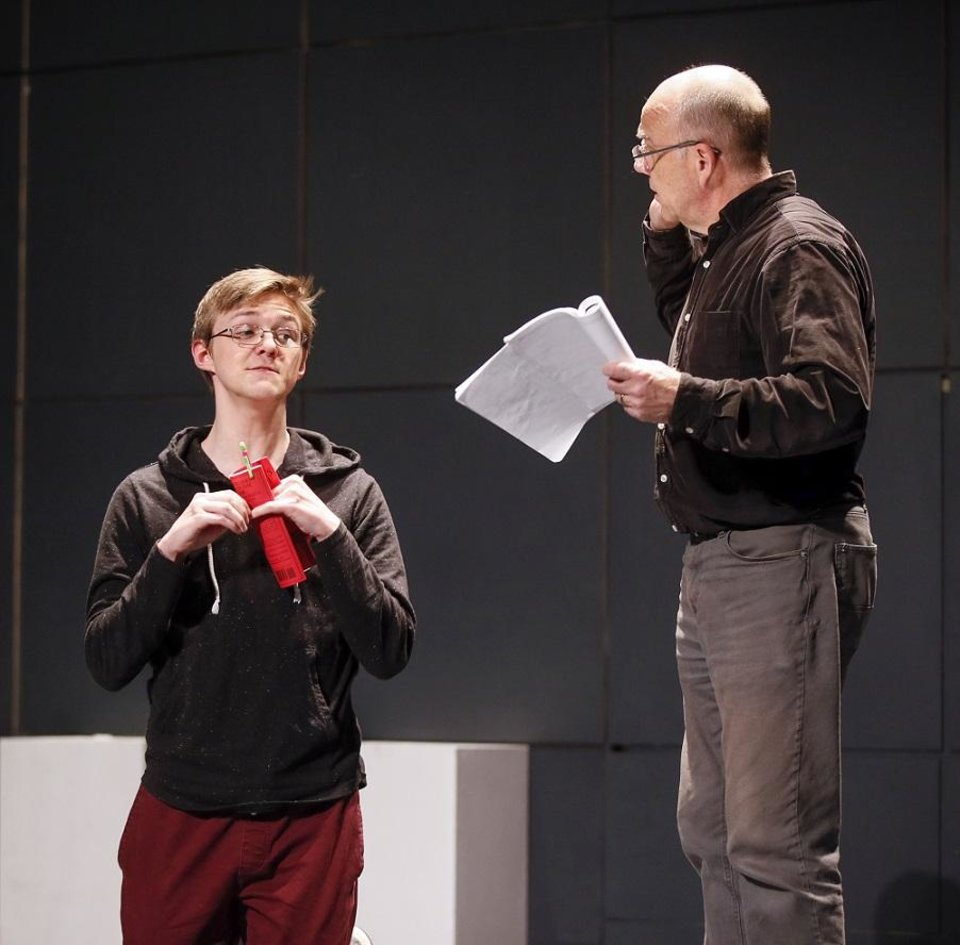 Photo - Cameron Law, left, and David Fletcher-Hall rehearse for CityRep's production of the Tony-winning play