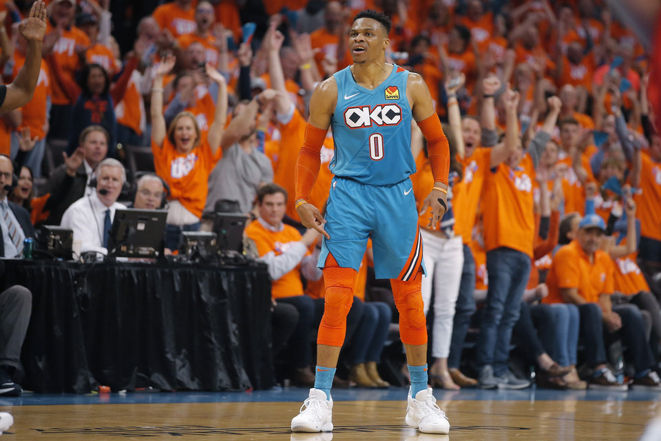 Photo - Oklahoma City's Russell Westbrook (0) shouts after making a basket during Game 3 in the first round of the NBA playoffs between the Portland Trail Blazers and the Oklahoma City Thunder at Chesapeake Energy Arena in Oklahoma City, Friday, April 19, 2019. Oklahoma City won 120-108. Photo by Bryan Terry, The Oklahoman