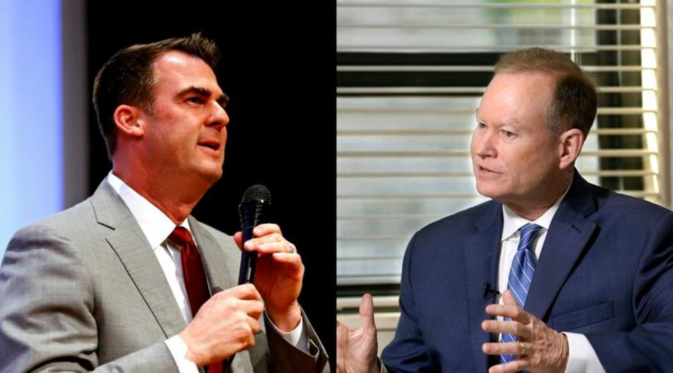 Photo - From left: Kevin Stitt and Mick Cornett [The Oklahoman archives]