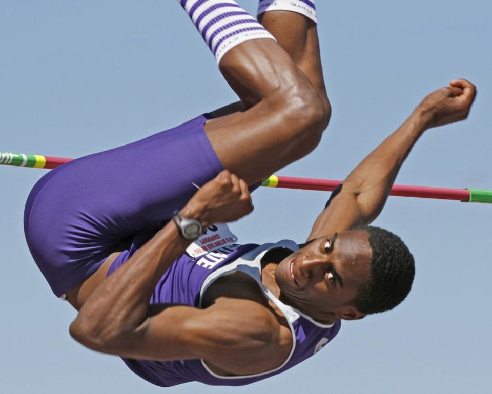 "Photo -  Kansas State University's Erik Kynard easily clears 6'11"" at the 2011 Big 12 Track Championships at John Jacobs Track Complex at the University of Oklahoma on Saturday, May 14, 2011, in Norman, Okla.  Photo by Steve Sisney, The Oklahoman ORG XMIT: KOD"