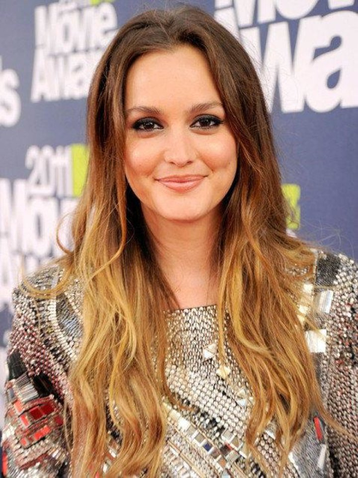 Photo - Leighton Meester's sunset ombre hair is perfect for spring and summer. AP Photo.