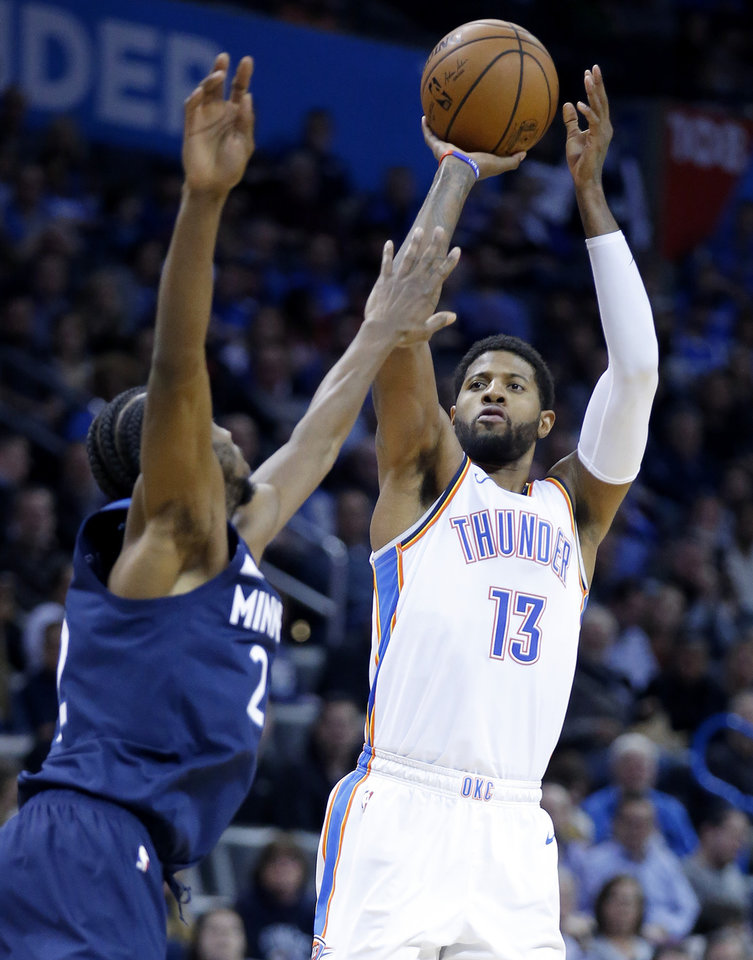 Photo - during the NBA game between the Oklahoma City Thunder and Minnesota Timberwolves at the Chesapeake Energy Arena, Tuesday, Jan. 8, 2019. Photo by Sarah Phipps, The Oklahoman