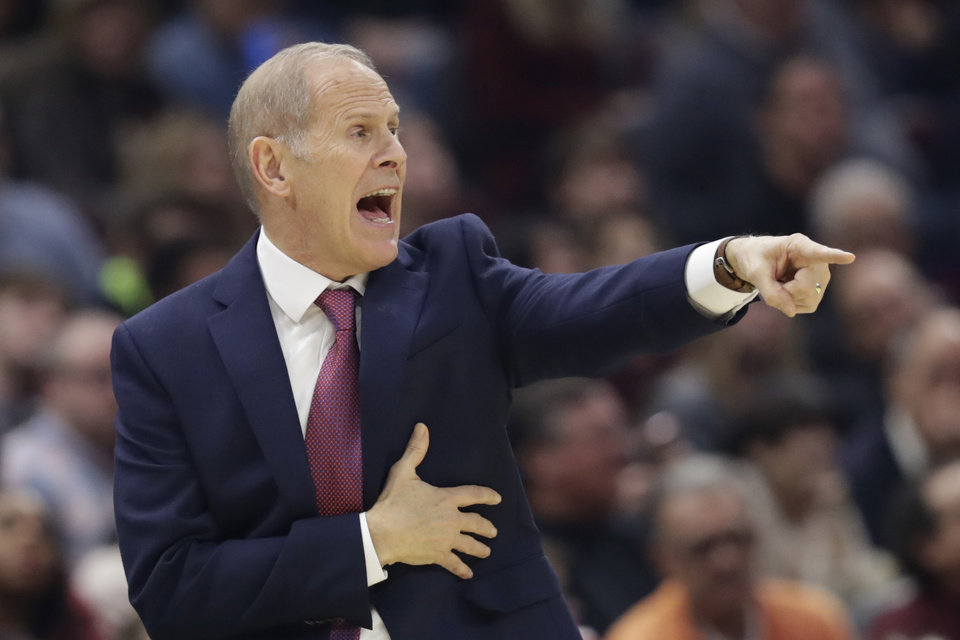 Photo - Cleveland Cavaliers head coach John Beilein yells instructions to players in the first half of an NBA basketball game against the Oklahoma City Thunder, Saturday, Jan. 4, 2020, in Cleveland. [AP Photo/Tony Dejak]
