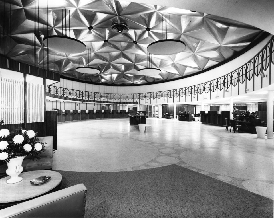 Photo - View of the interior of Citizens State Bank at NW 23 and Classen taken in December 1958.  The stressed-skin aluminum dome was designed and developed by Kaiser Aluminum & Chemical Corp.  Unnown - The Daily Oklahoman