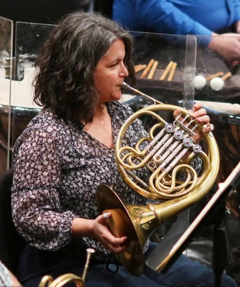 Photo -  Kate Pritchett is the principal horn for the OKC Philharmonic and  the first female principal in the brass section in the OKC Philharmonic's history. Tuesday, October 29, 2019. [Doug Hoke/The Oklahoman]