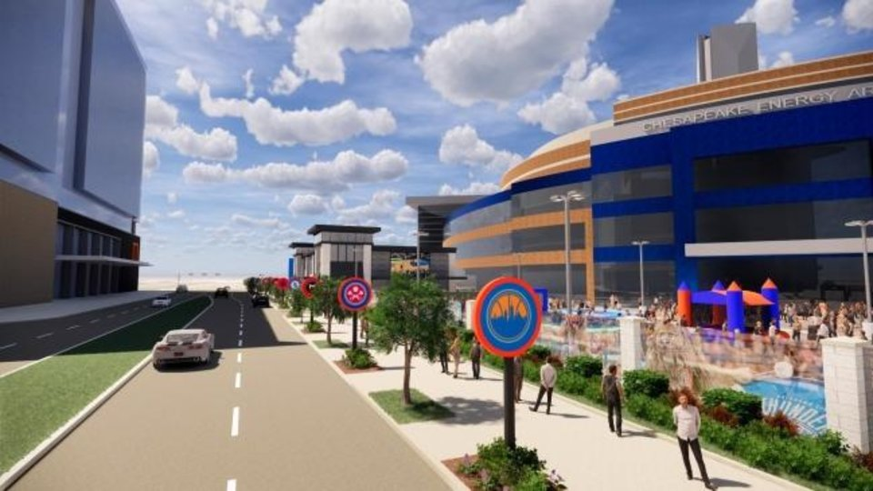 Photo -  Developers are submitting revised plans for a proposed Thunder Alley south of the Chesapeake Energy Arena. [PROVIDED]