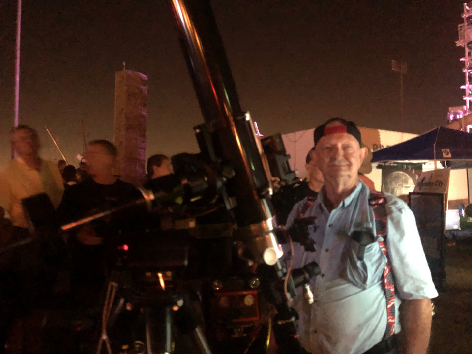 Photo -  Oklahoma City Astronomy Club member Gerald Taylor recalled watching astronauts land on the moon in 1969. [ROBERT MEDLEY/THE OKlAHOMAN]