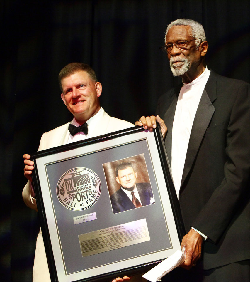 Photo - Oklahoma Sports Hall of Fame inductee Clay Bennett with his presenter Bill Russell, Monday, August 5, 2013. Photo by David McDaniel, The Oklahoman