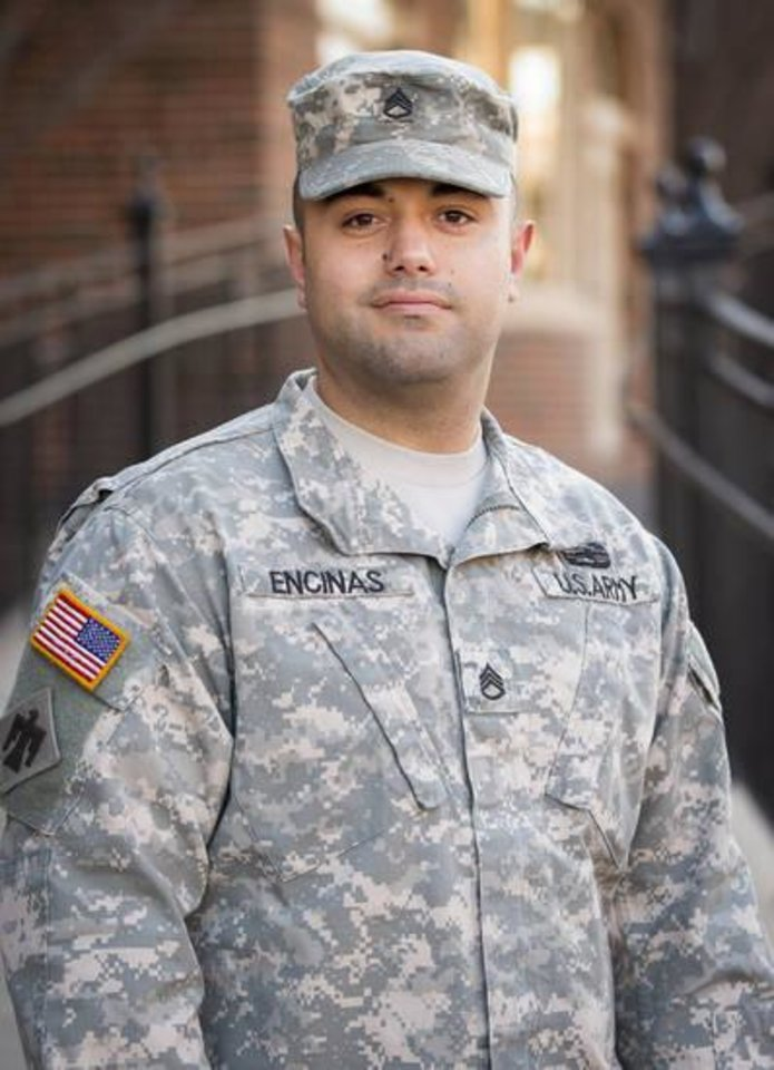 Photo -  Josh Encinas is a staff sergeant in the Oklahoma National Guard, which paid for his college education. [Photo provided by OSU]