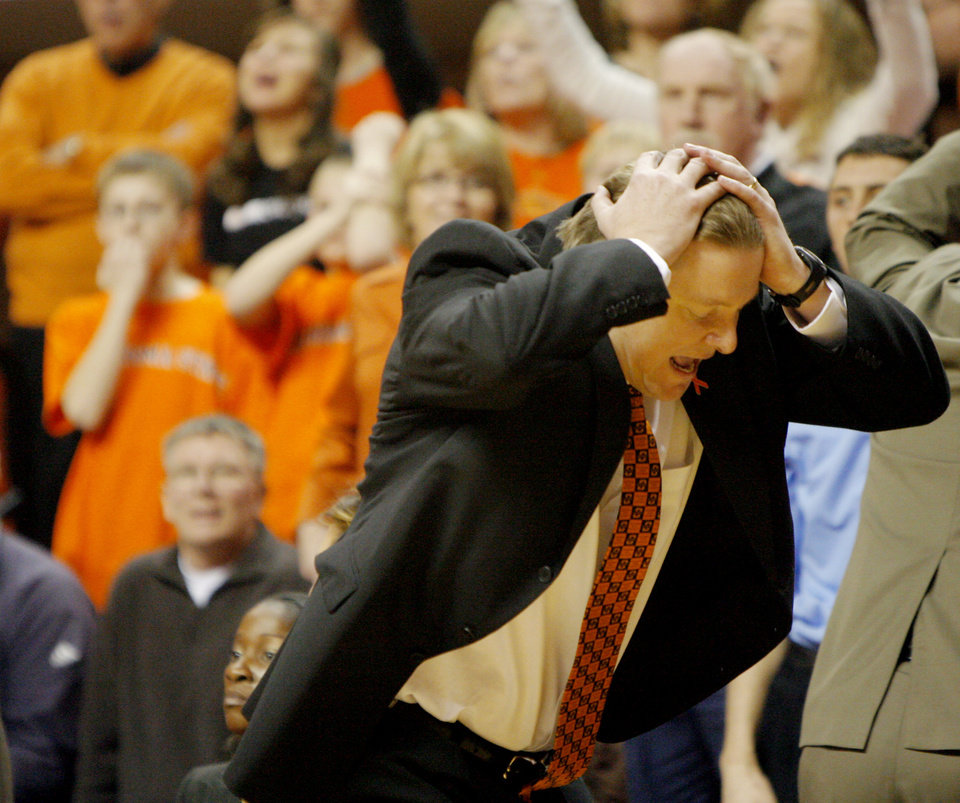 Photo - OSU's head coach Kurt Budke reacts to a call in the second half during the women's college basketball game between Oklahoma State University and Kansas State University at Gallagher-Iba Arena in Stillwater, Okla., Sunday, January 27, 2008. BY MATT STRASEN, THE OKLAHOMAN