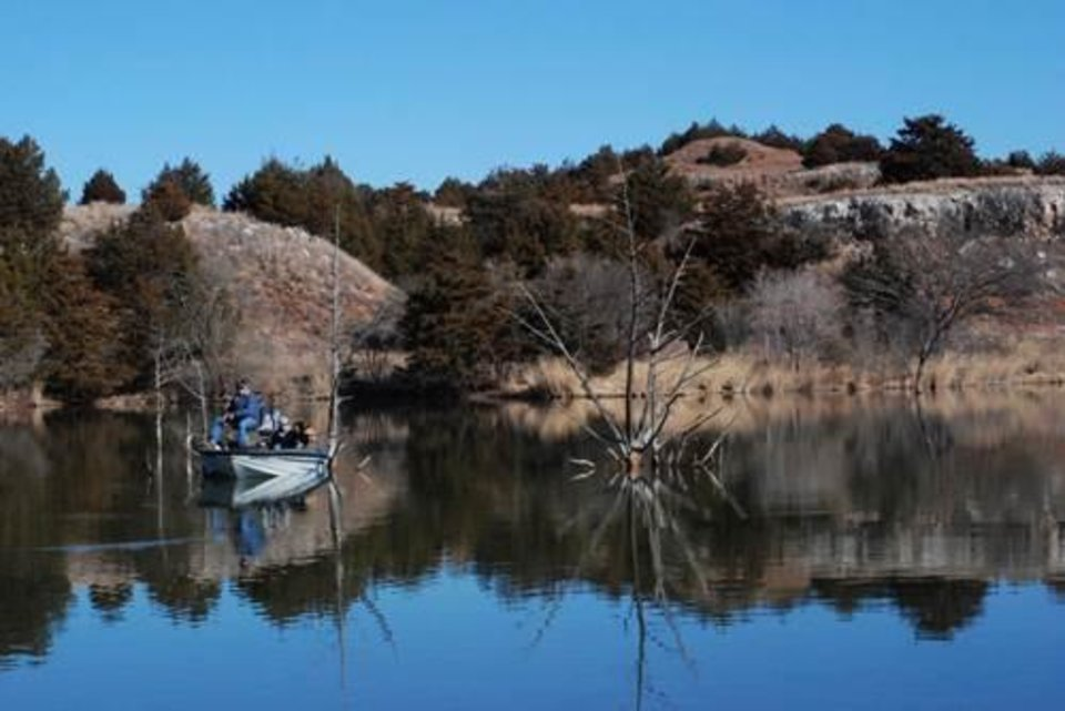 Photo -  Lake Watonga, just north of Roman Nose State Park, is a popular destination for winter trout fishing in Oklahoma. Photo provided by Oklahoma Department of Wildlife Conservation