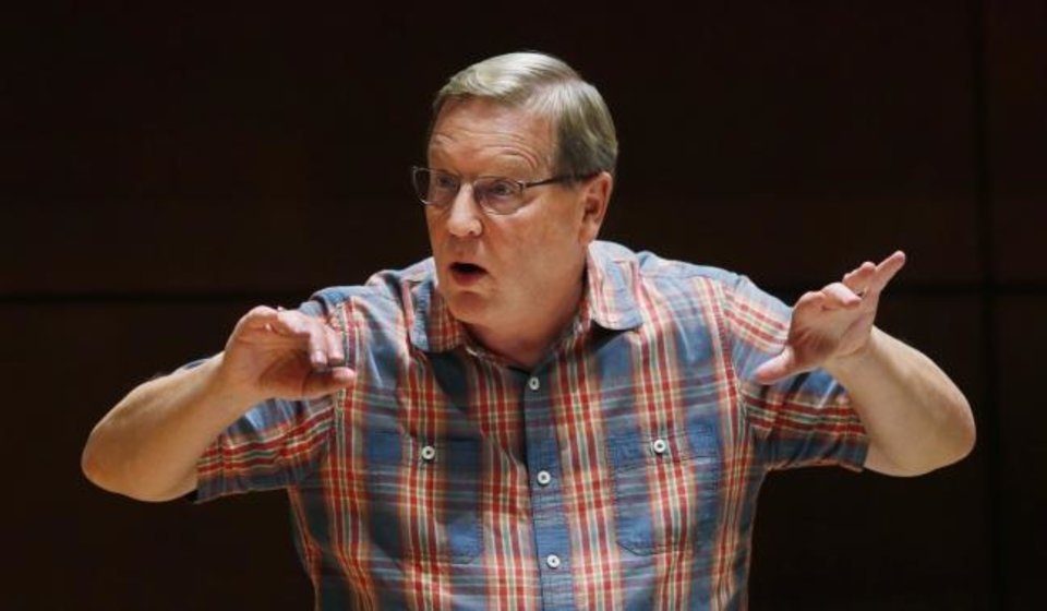 Photo -  Artistic Director Randi Von Ellefson leads Canterbury Voices on Sept. 30 as they rehearse for their Oct. 13 performance of Duke Ellington's