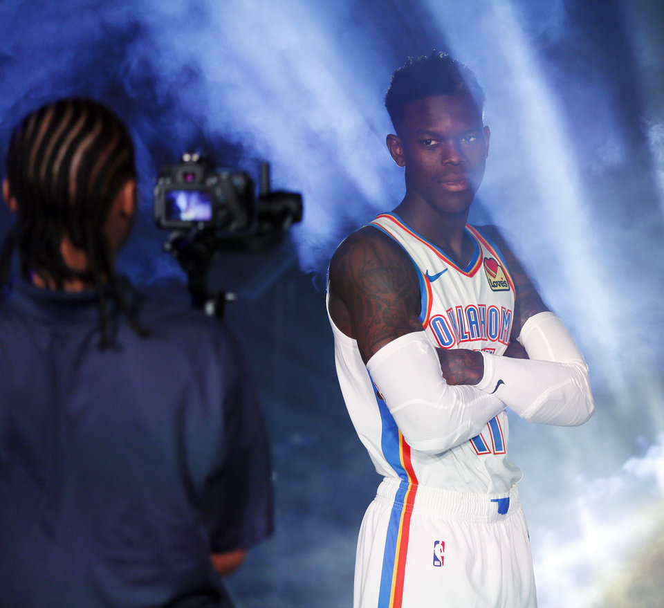 Photo - Oklahoma City's Dennis Schroder poses during a photo shoot at media day for the Oklahoma City Thunder NBA basketball team at Chesapeake Energy Arena in Oklahoma City, Monday, Sept. 30, 2019. [Nate Billings/The Oklahoman]