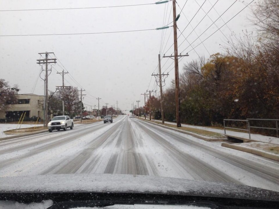 Photo - Snow/sleet in Norman. Photo by Chris McBee