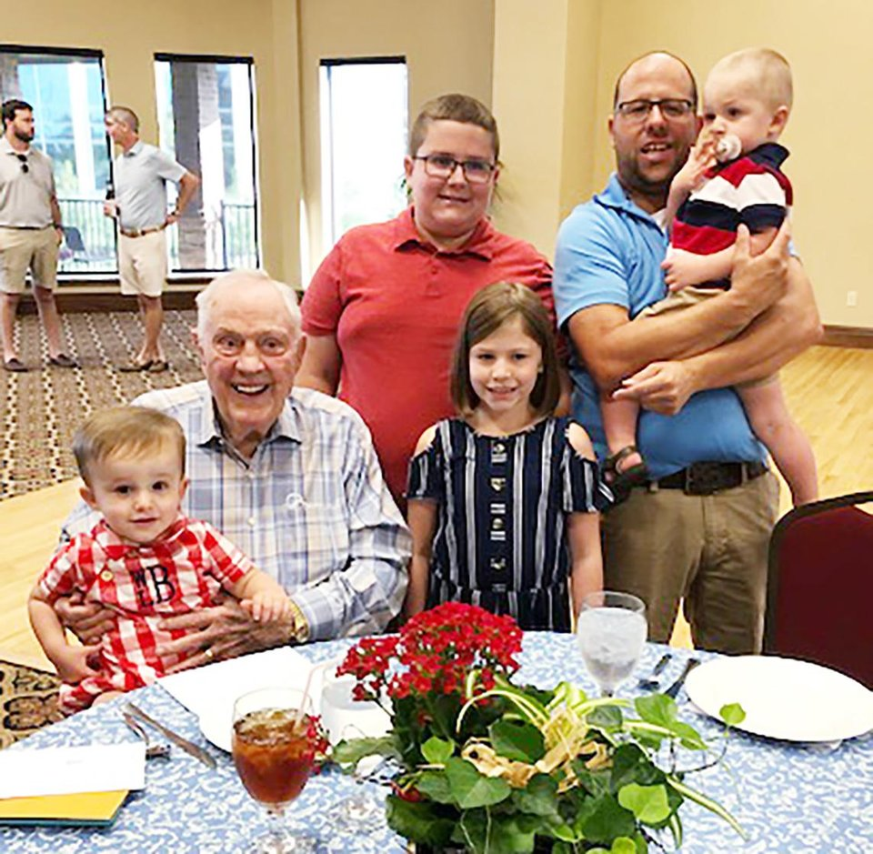 Photo - Will Bolding, Bob Ellis, Parker Meadors, Havynn Meadors, Richard Meadors, holding Wrigley Meadows. PHOTO BY NANCY ELLIS