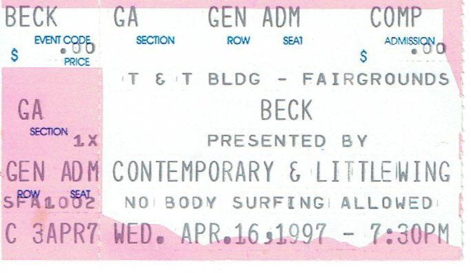 Photo -  Chad Bleakley remembered catching Beck at State Fair Park with The Roots and Atari Teenage Riot on support. Questlove's beatboxing stood out to him. Bleakley keeps most of his ticket stubs in a pencil box from the fifth grade along with his favorite covers from cassettes. [Photo provided]