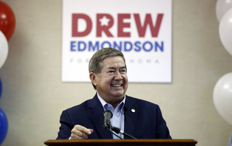 Photo -  Drew Edmondson announces he is running for Oklahoma Governor in Tulsa, OK, May 1, 2017. STEPHEN PINGRY/Tulsa World