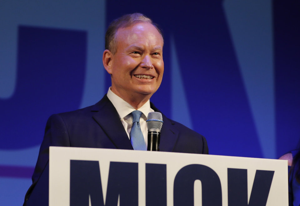 Photo - Mick Cornett speaks with a group of Mick for Governor volunteers at his watch part inside the Tower Theater in Oklahoma City, Okla. on Tuesday, June 26, 2018. (Photo by Alonzo Adams for The Oklahoman)