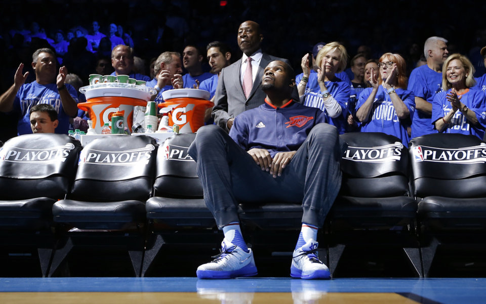 c543c546973 Oklahoma City s Kevin Durant (35) waits to introduced before Game 5 of the  first round series between the Oklahoma City Thunder and the Dallas  Mavericks in ...