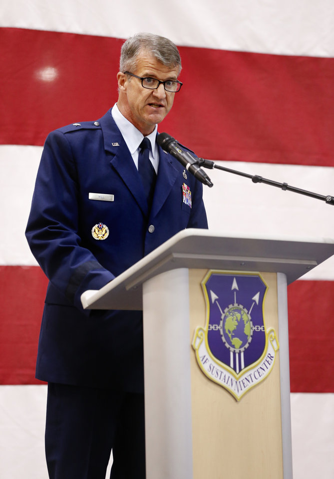 Photo -  Brig. Gen. Christopher D. Hill speaks as new commander during the Oklahoma City Air Logistics Complex change of command ceremony at Tinker Air Force Base on Monday. [Photo by Steve Sisney, The Oklahoman]