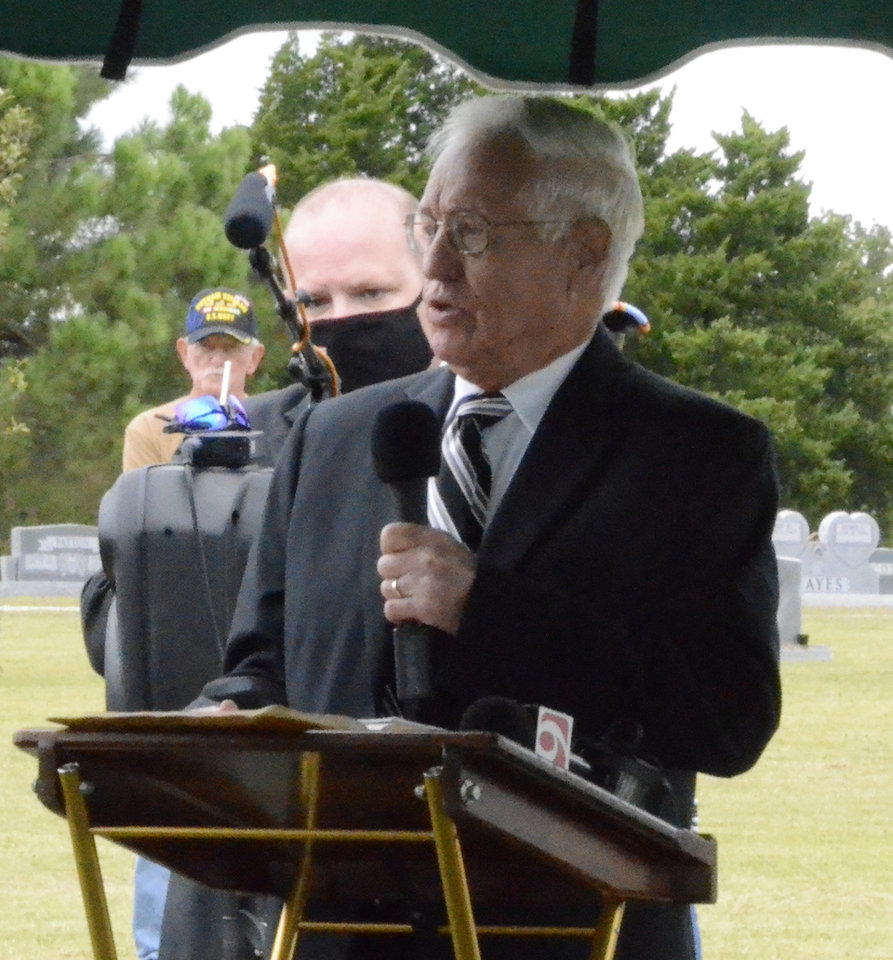 Photo -  After his remains were identified mid-2019, U.S. Navy Fireman 1st Class James Cecil Webb's burial has been a long time coming — nearly 80 years. The 23-year-old Oklahoma native was laid to rest at the Dale Cemetery on Wednesday near the home of his nephew, the Rev. Bill Ashworth (pictured). [Vicky O. Misa/Shawnee News-Star]