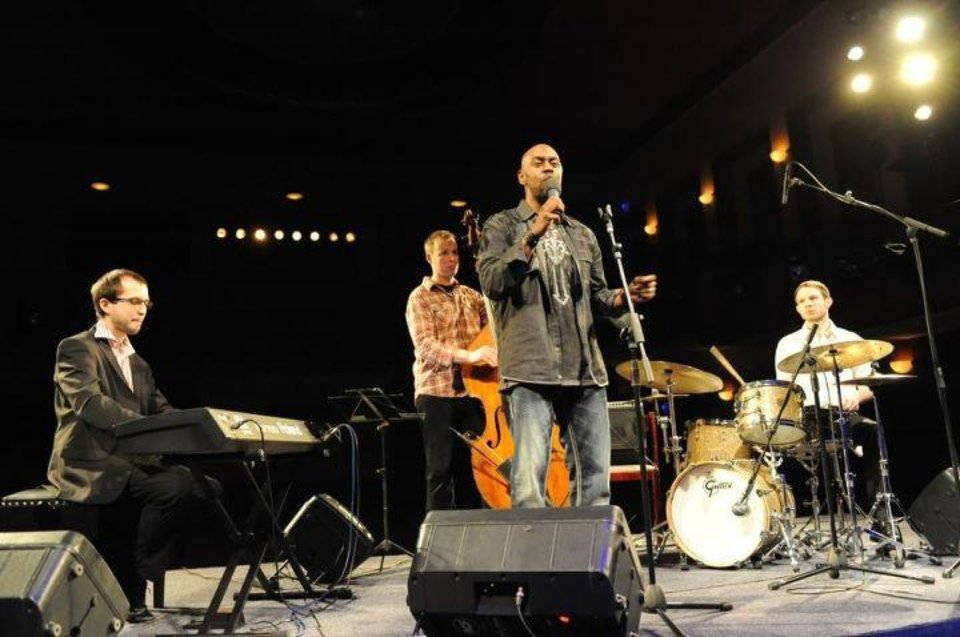 Photo - Justin Echolssings during his tour in the Czech Republic with Lukas Kytnar on upright brass, Tomas Jochmann on piano and Tomas Jobzek on drums. Photo provided.