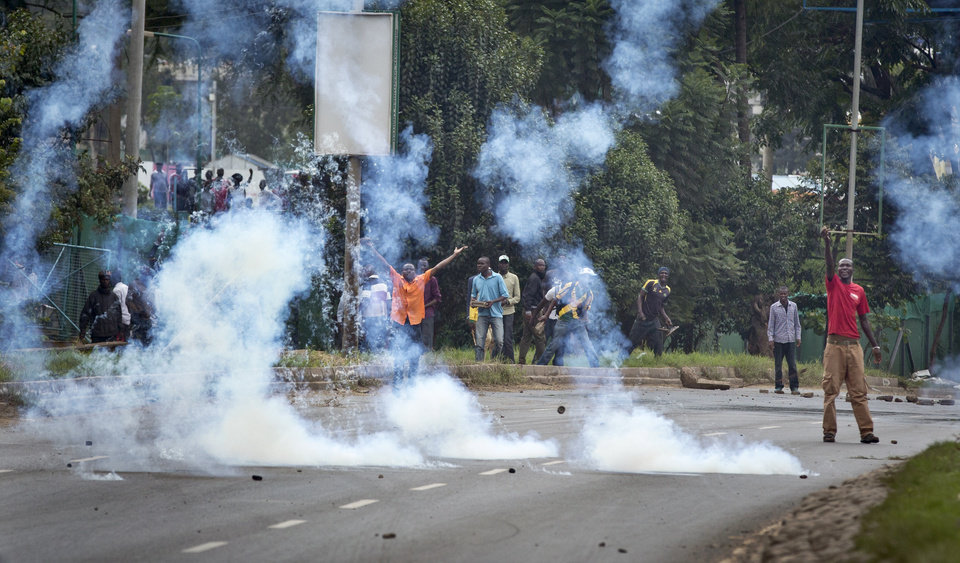 Image result for Kenyan police fires tear gas at chanting opposition supporters