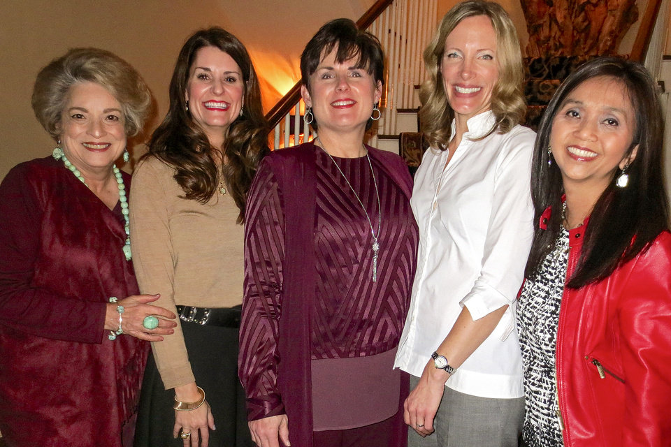 Photo -  Sue Ann Hyde, Kristen Brown, Shelly Soliz, Sara Sweet, Mei Cheng. [PHOTO BY HELEN FORD WALLACE]