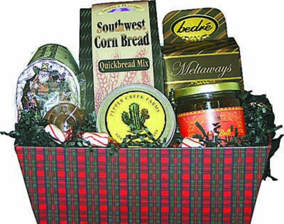 Photo - Gift baskets with local items spread holiday shear and display Oklahoma pride - available at Gourmet Gallery.