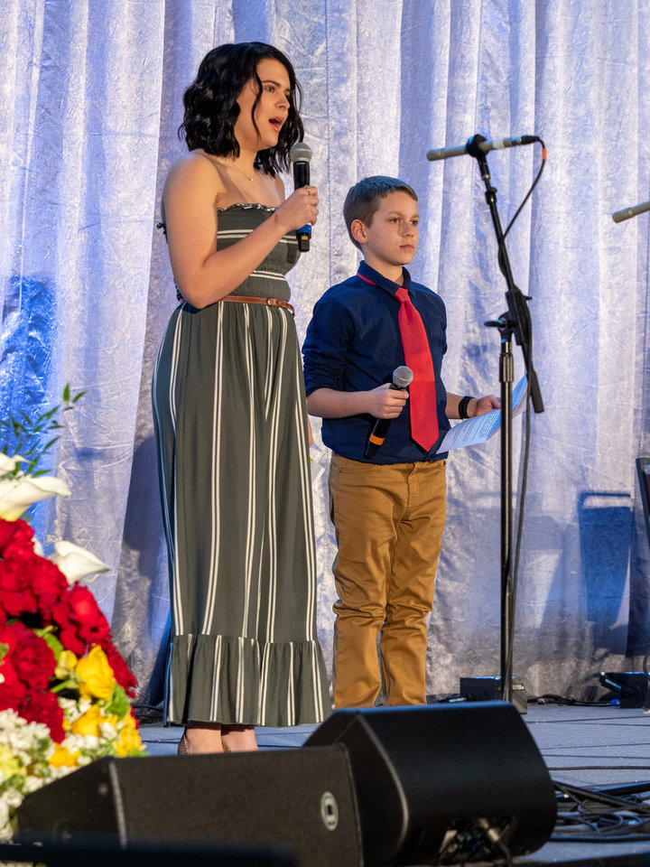 Photo - Serving as emcees during the Allied Arts campaign kickoff were Piper Turner, 17, and Connor McLoud, 11, from Oklahoma Children's Theatre.  [PHOTO BY CARL SHORTT]