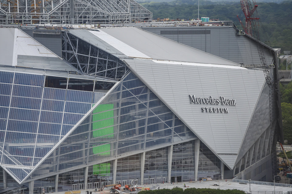 Construction continues at the new Mercedes Benz Stadium, Tuesday, April 18, 2017,