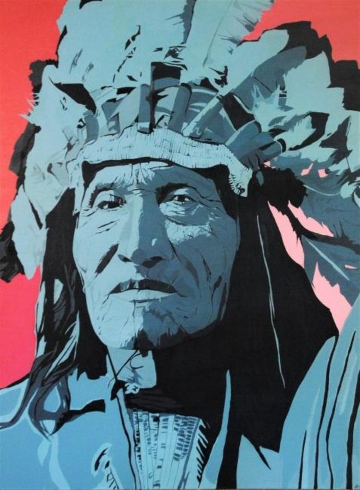 "Photo -  Oklahoma City artist Jack Fowler's painting ""He Dog, Lakota"" is featured in his art show and curated film series"