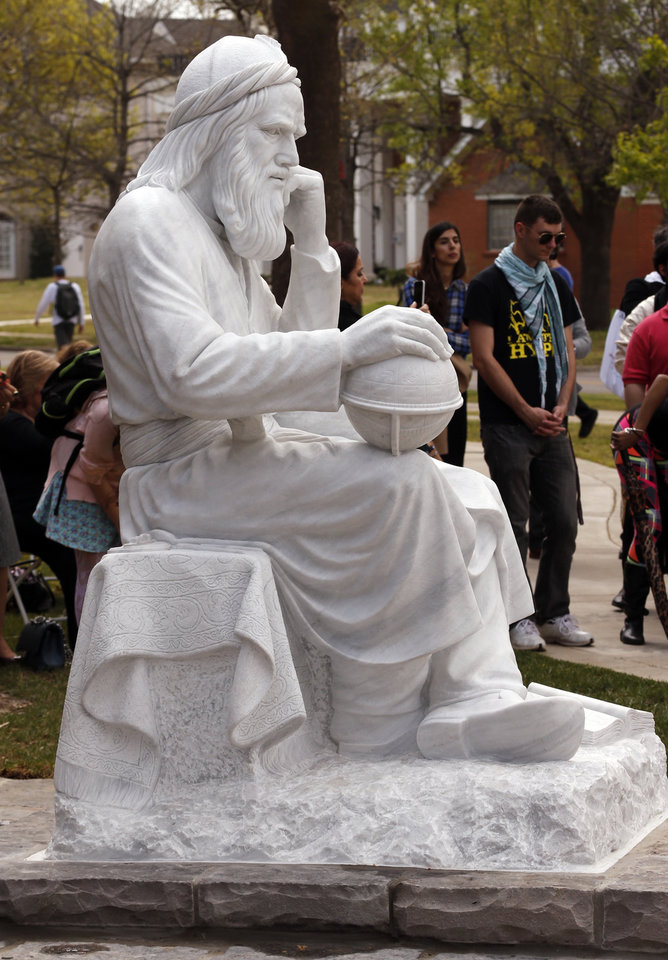 Photo -  University of Oklahoma (OU) officials unveil a sculpture titled Omar Khayy‡m by internationally noted Iranian sculptor Professor Hossein Fakhimi on Wednesday, March 30, 2016 in Norman, Okla. Photo by Steve Sisney, The Oklahoman