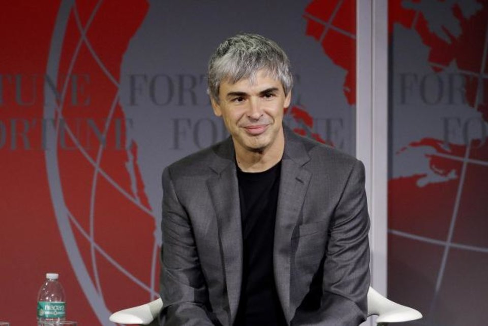 Photo -  Alphabet CEO Larry Page speaks at the Fortune Global Forum in San Francisco.  [AP PHOTO]