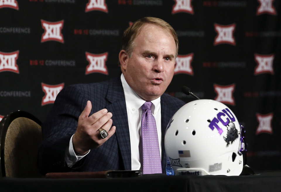 Photo - TCU head football coach Gary Patterson responds to questions from reporters at Big 12 Conference Football Media Days Monday, July 20, 2015, in Dallas. (AP Photo/Tony Gutierrez)