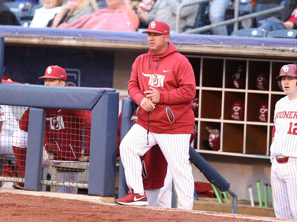 Photo - Oklahoma Sooners head coach Skip Johnson during Bedlam baseball action between Oklahoma Sooners and the Oklahoma State Cowboys at ONEOK on May 10, 2019. JOEY JOHNSON/for the Tulsa World