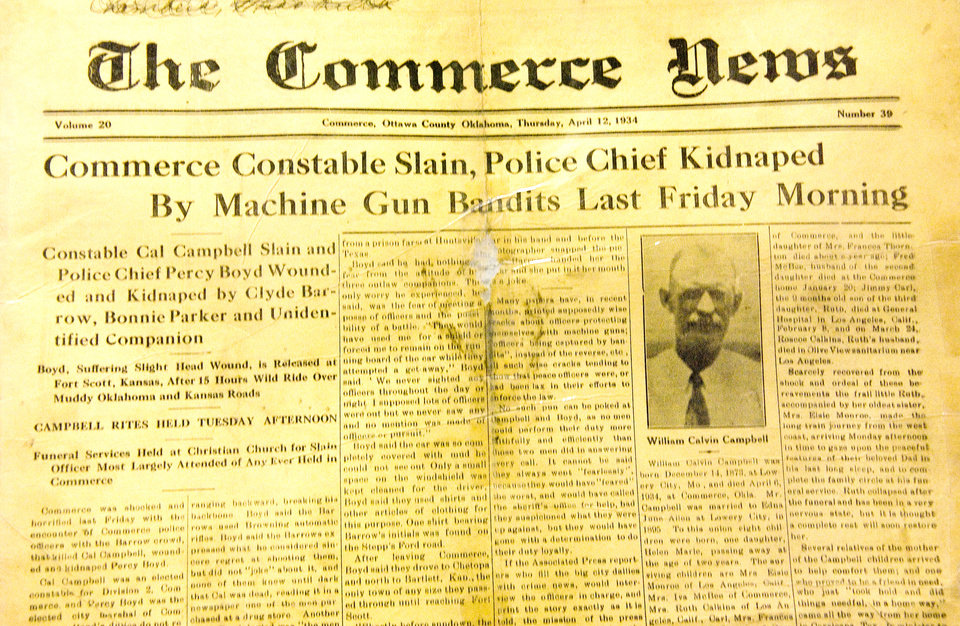 Photo - Bonnie and Clyde exploits in The Commerce (Okla.) News April 2, 1934. One officer was killed and the chief of police kidnapped by Bonnie and Clyde.