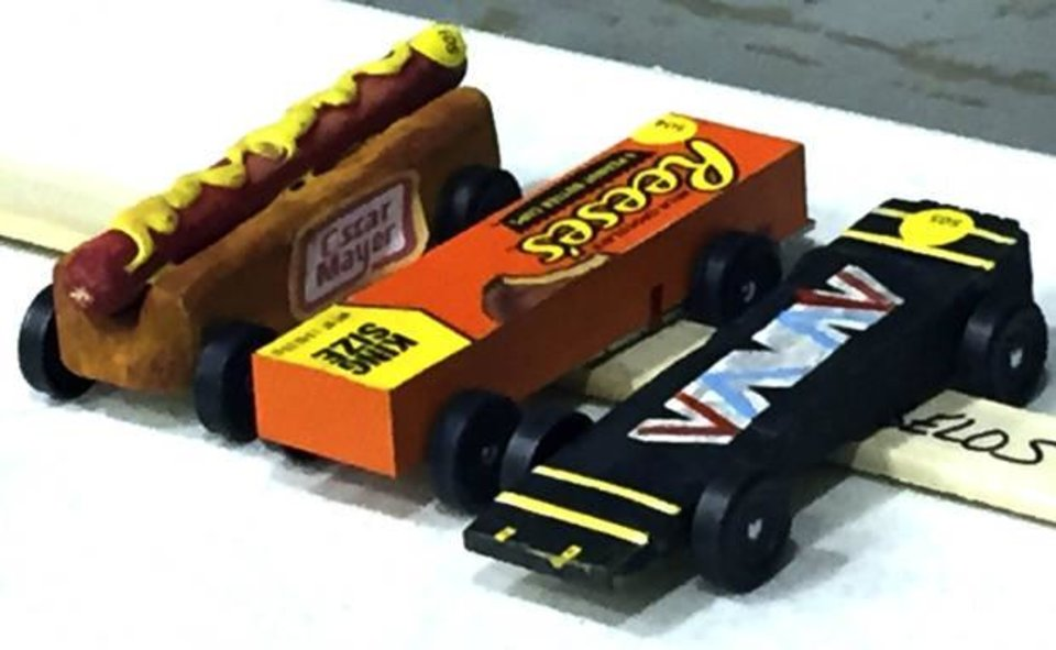 Cleverly Decorated Pinewood Derby Cars Are Ready For The Races In Yukon PHOTO BY DIANA BALDWIN THE OKLAHOMAN