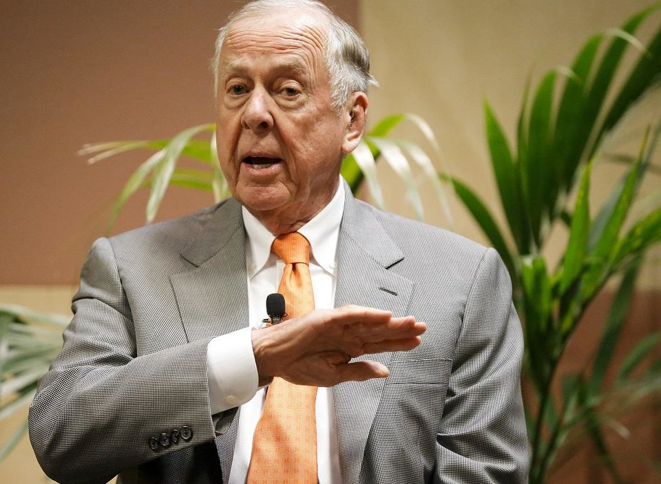 Photo - T. Boone Pickens talks at his birthday bash during the Southern Republican Leadership Conference at the Cox Convention Center in Oklahoma City, Okla. on Friday, May 22, 2015. [Chris Landsberger/The Oklahoman Archives]