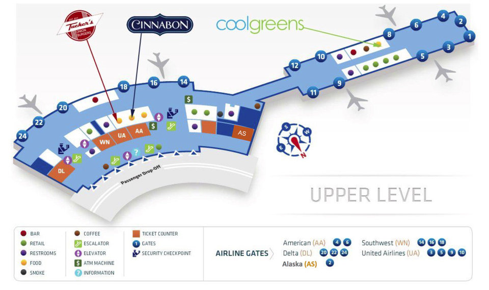 Photo -  Three restaurants, Coolgreens, Tucker's Onion Burgers and Cinnabon, will be opening at Will Rogers World Airport within the next several months, officials announced Thursday during a meeting of the Oklahoma City Airport Trust. This map shows where the restaurants will be located. [Rendering provided]
