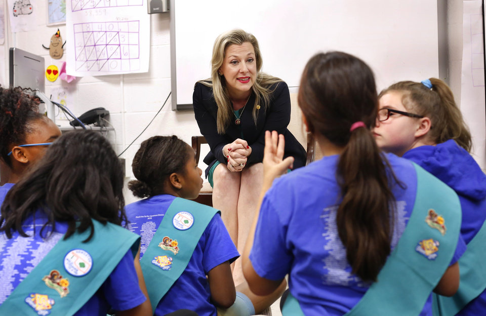 Photo - U. S. Rep. Kendra Horn visits a Girl Scout troop on Monday afternoon, April 15, 2019, at Positive Tomorrow School, a school dedicated to educating homeless students in Oklahoma City.    Photo by Jim Beckel, The Oklahoman.